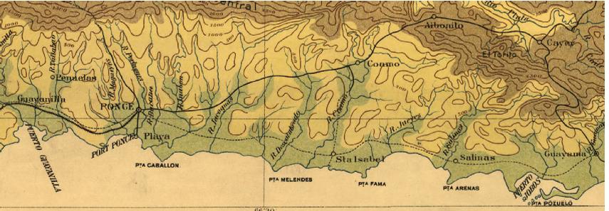 Mapa de los terrenos cultivables en el sur de Puerto Rico - 1898